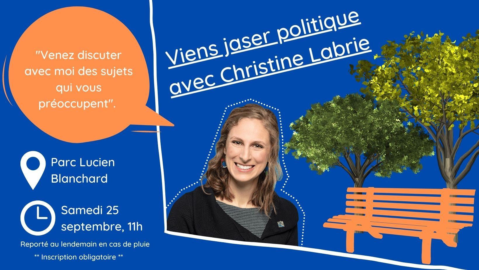 25 septembre 2021: Viens jaser politique avec Christine Labrie